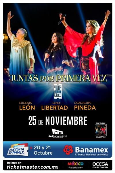 eugenia leon, tania li9bertad, guadalupe pineda, concierto,mexico, auditorio nacional